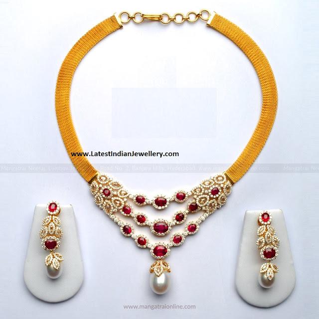 Diamond Ruby 3 Tier Pendant Necklace