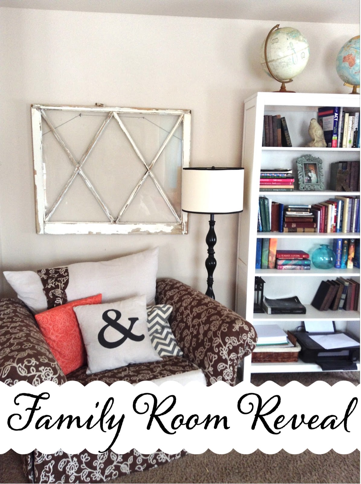 Family Room Makeover reveal Sunburst DIY, Roman Shade tutorial,  Easy Cornice DIY