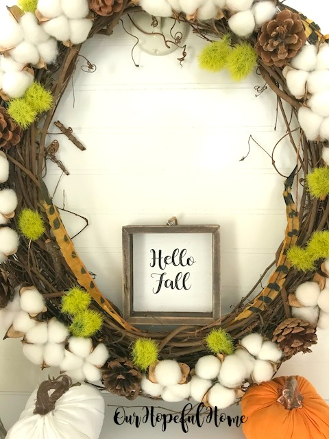 cotton boll wreath pine cones dianthus feathers pumpkins hello fall sign