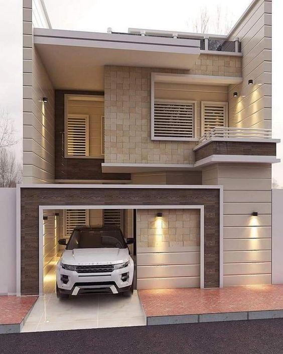 Model Rumah Minimalis Tampak depanType 45 Dengan Batu Alam 2 lantai