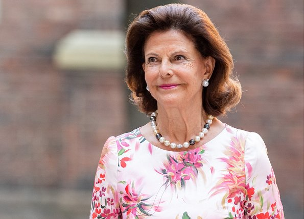 Queen Silvia wore a floral print maxi dress