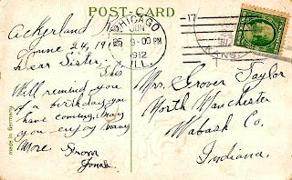 postcard vintage image handwritten
