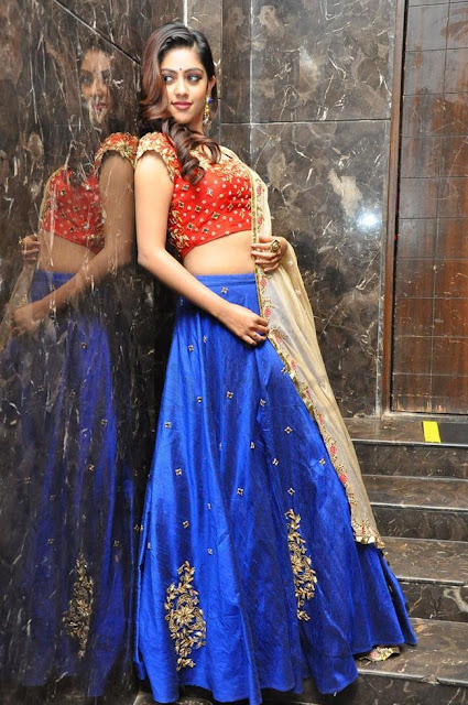 Anu Emmanuel in Blue Lehenga at Majnu Movie Audio Launch