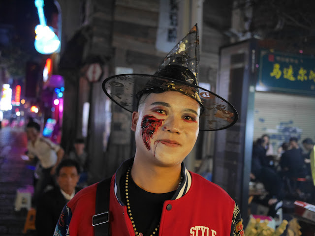 young man dressed up for Halloween in Changsha