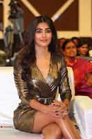 Pooja Hegde looks glamarous in deep neck sleevless short tight golden gown at Duvvada Jagannadham thank you meet function 119.JPG