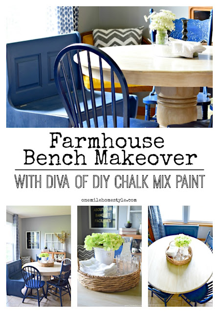 Painting this simple bench navy blue totally makes this farmhouse dining room a stunner now!