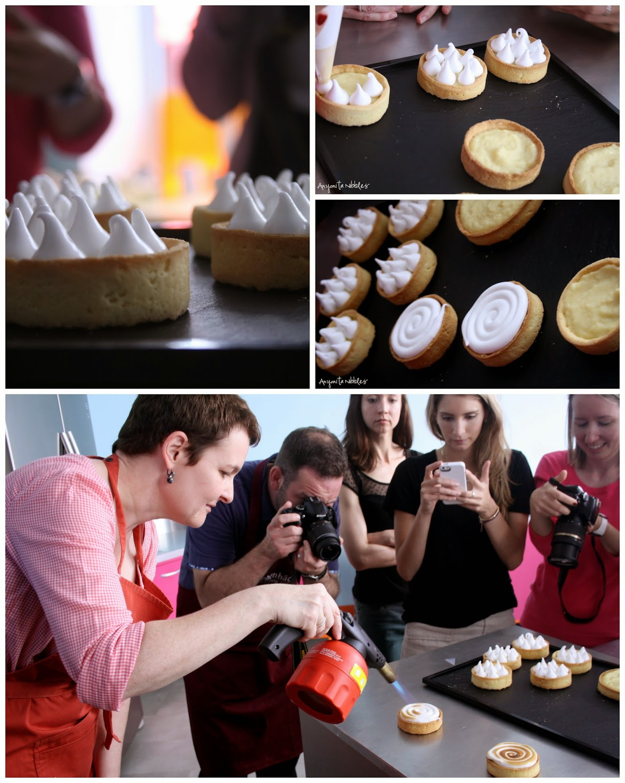 Adding meringue to lemon tarts from Anyonita Nibbles