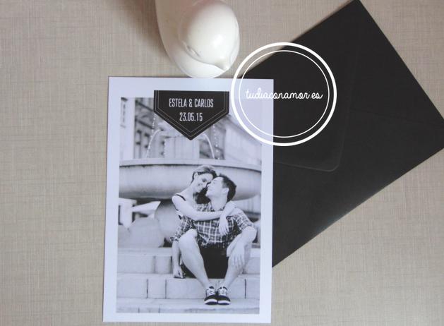 invitacin de boda elegante con la foto de los novios en blanco y negro with invitacion boda moderna