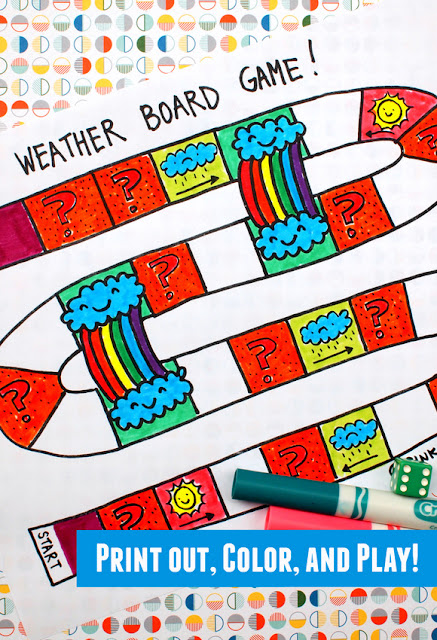 Fun Science game for kids- Printable Weather Board game for preschoolers