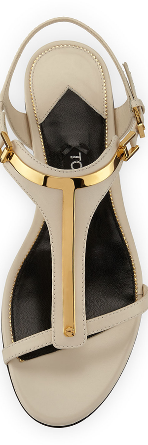 TOM FORD Metallic T-Strap Sandal, White