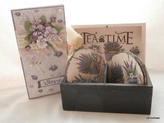komplet podkładek i pudełko w stylu prowansalskim z lawendą