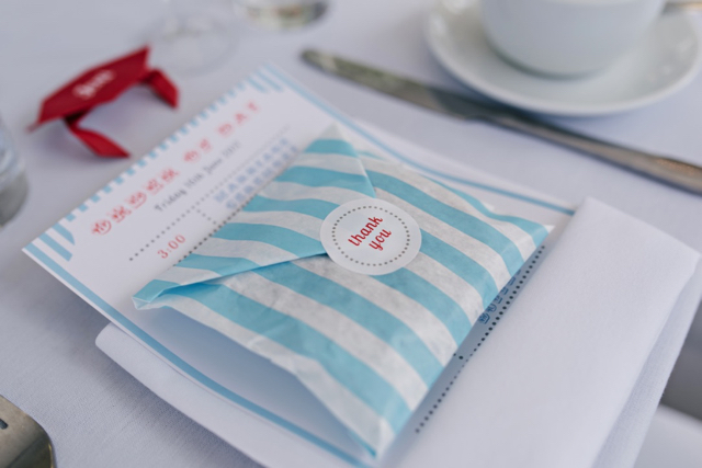 Candy striped paper bag fudge favours