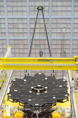 photograph of JWST with all mirrors installed