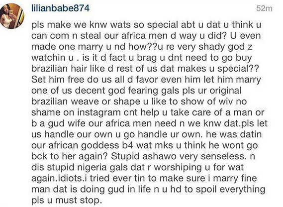 YOU ARE STEALING ALL OUR PENISES – PISSED OFF NAIJA BABE SENDS MESSAGE TO IK OGBONNA'S LATINO WIFE