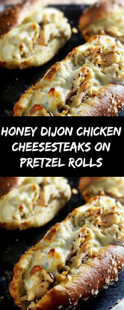 HONEY DIJON CHICKEN CHEESE STEAKS ON PRETZEL ROLLS