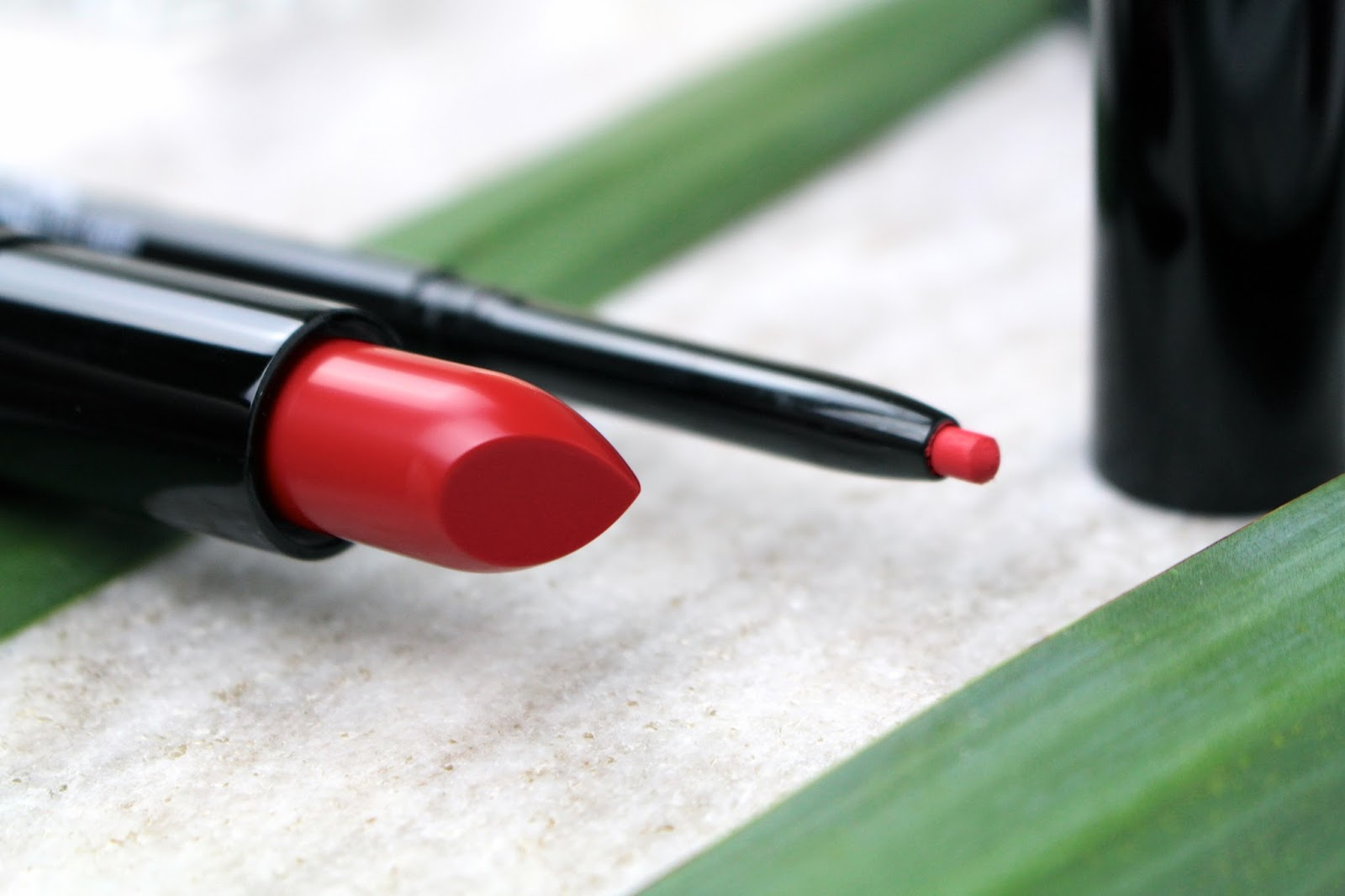 Mii Cosmetics bright red lipstick and matching lip liner