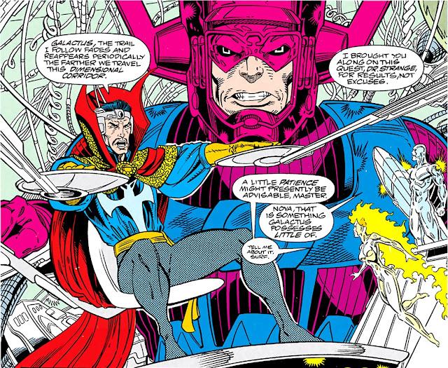 Galactus junto a Nova, Estela Plateada y el Doctor Extraño