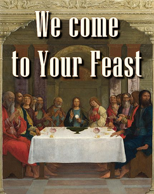 the last supper, bread and wine on the table of the Lord