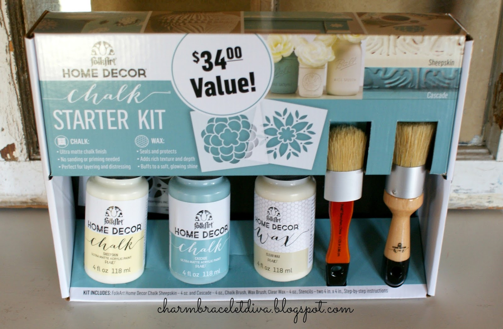 folkart home decor chalk paint starter kit paint wax brushes - Home Decor Chalk Paint