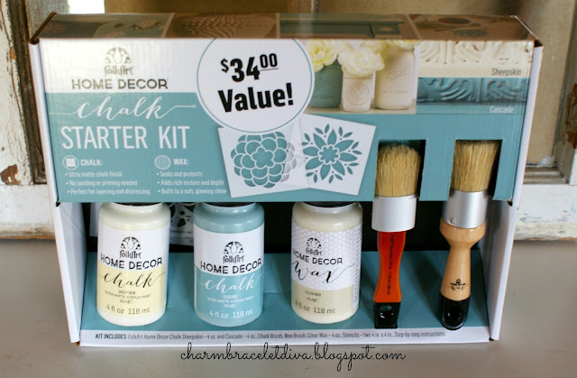 FolkArt Home Decor Chalk Paint Starter Kit paint wax brushes