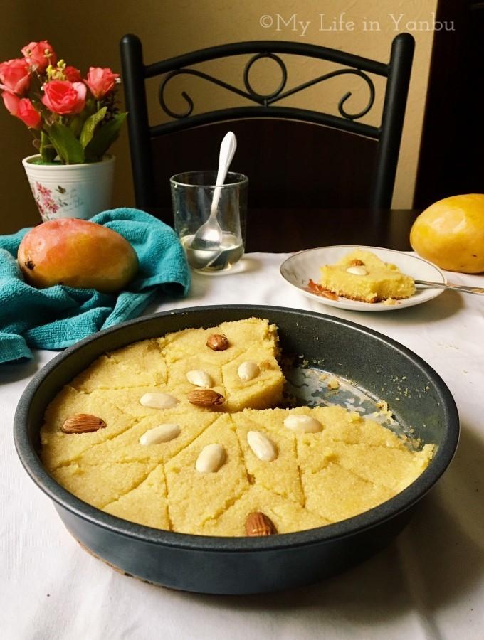 Mango Basbousa | Semolina Tahini Cake with Mango