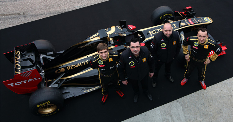 Lotus Renault GP, 2011, presentación con Petrov, Boullier, Gerard Lopez y Kubica
