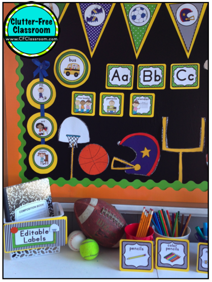 Clutter Free Classroom Sports Themed Classrooms