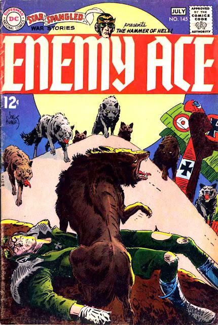 Star Spangled War v1 #145 enemy ace dc comic book cover art by Joe Kubert