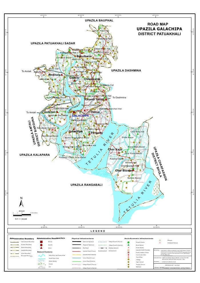 Galachipa Upazila Road Map Patuakhali District Bangladesh
