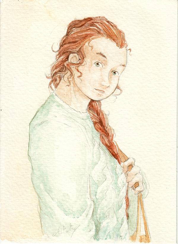 Portrait de margot à l'aquarelle - ocres de Provence
