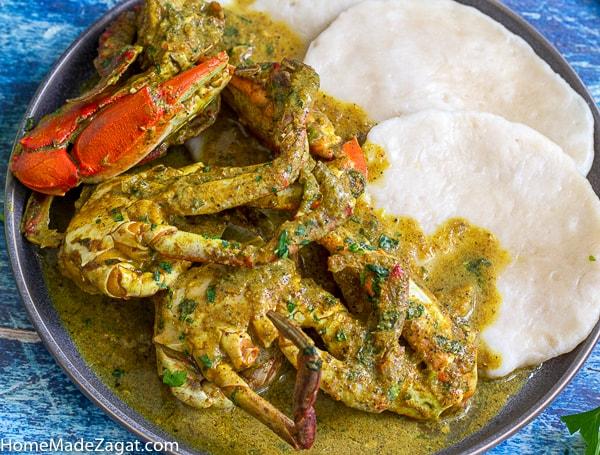 Delicious plate of blue crab with flour dumplings
