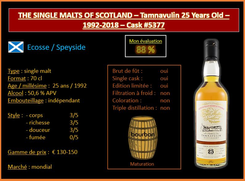 Review #527 : The Single Malts of Scotland – Tamnavulin 25 Years Old – 1992-2018 – Cask #5377