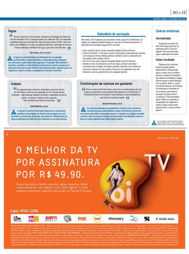 Mitos e verdades da vacina contra a gripe A e H1N1 por Cristian Edel Weiss, Cristian Weiss, para o Jornal de Santa Catarina, da RBS, Blumenau