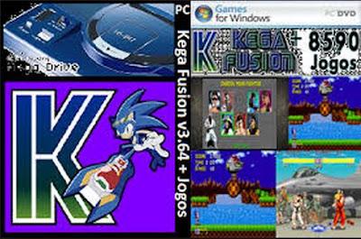 Emulador Mega Drive - Kega Fusion v3.64 + 8590 Jogos PC DVD Capa