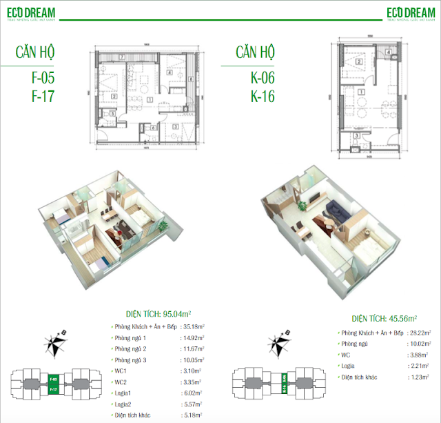 Thiết kế căn hộ 95,04 và 45,56m2 chung cư Eco Dream