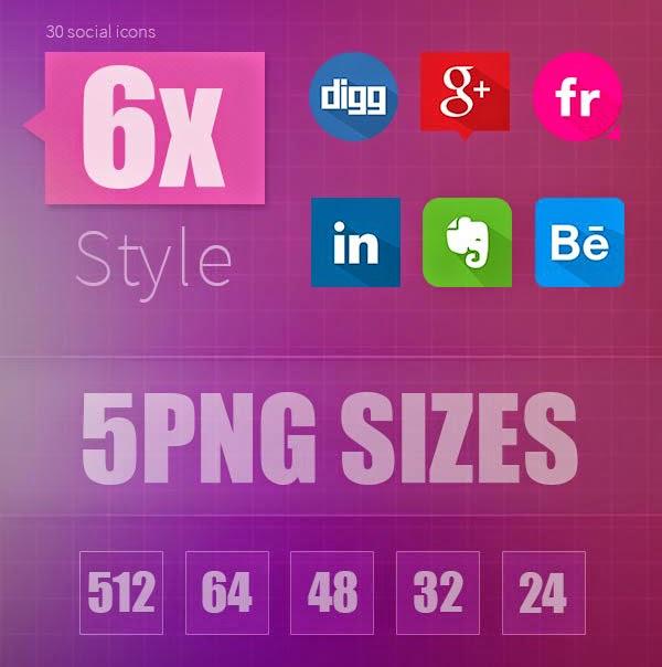 30 Icon Social Flat Design