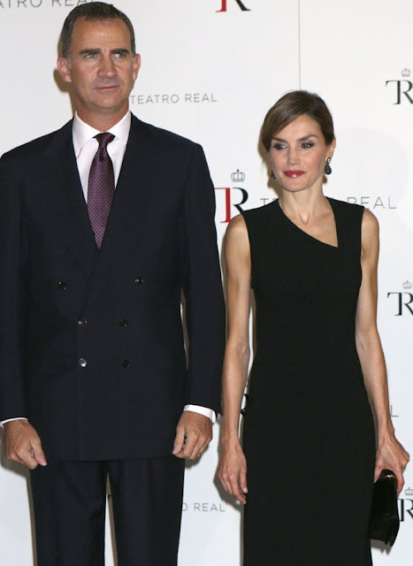 Queen Letizia of Spain and King Felipe of Spain attended the opening of Royal Theatre new season