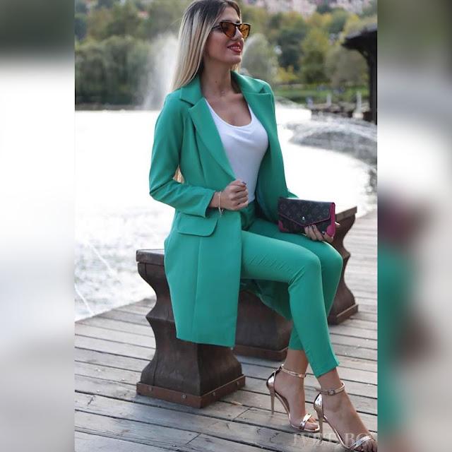 Γυναικείο τυρκουάζ  κοστούμι - σύνολο MALLIA TURQUA