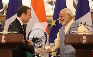 Emmanuel Macron With PM Modi Ji