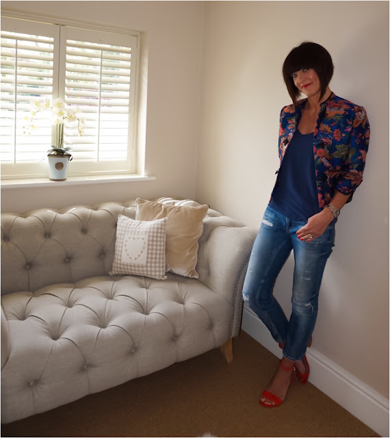 My Midlife Fashion, Zara floral print jacket, camisole, distressed cigarette jeans, marks and spencer block heel insolia sandals