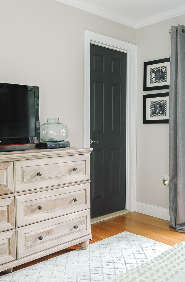 modern farmhouse bedroom, dark painted doors, bedroom