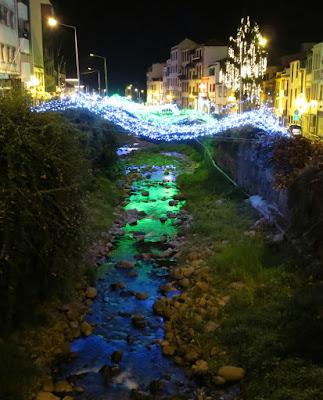 reflections of Christmas lights