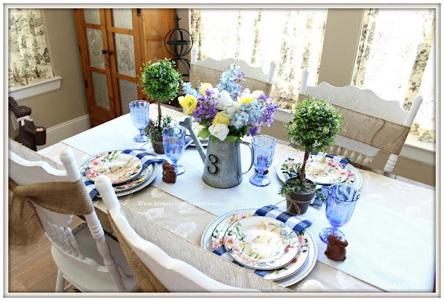 Spring-Easter-Tablescape-Cottage-Farmhouse-Watering Can-Blue-White-From My Front Porch To Yours