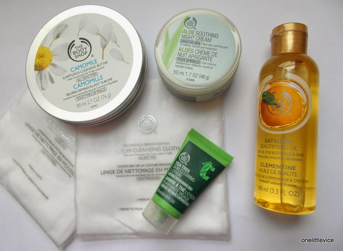 aloe night cream camomile cleansing butter satsuma body oil tea tree clearing lotion REVIEW