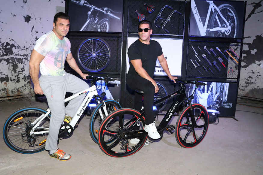 Salman and Sohail Khan Launching Being Human e-cycles at Mehboob Studio