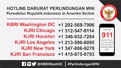 Hotline Darurat KBRI KJRI Indonesia USA