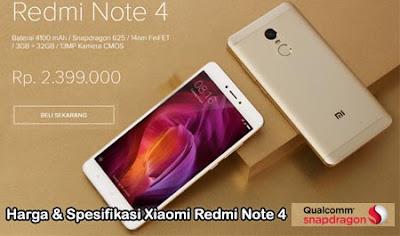 Harga terbaru xiaomi redmi note 4, spesifikasi redmi note 4