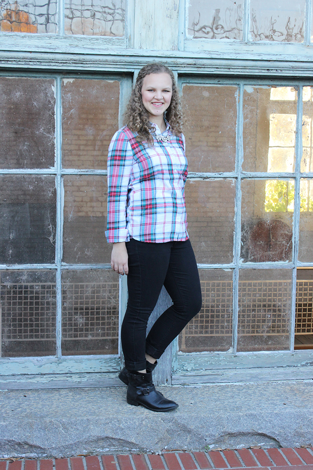 Plaid + Sparkle & Grace + Lace Link Up black skinny jeans outfit style fashion inspiration life curly hair black ankle booties
