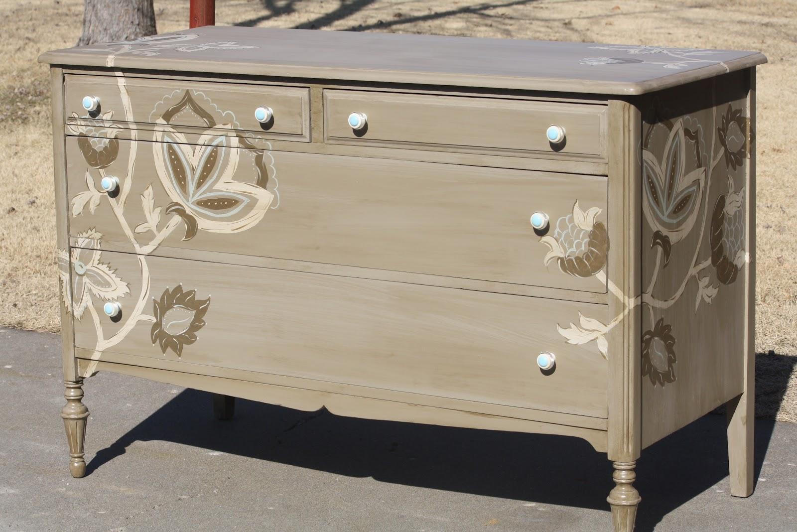 painted floral dresser