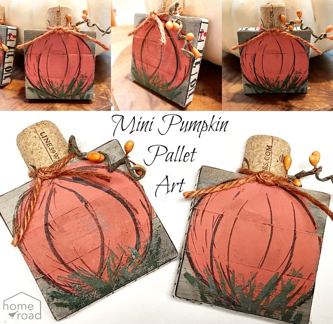 Painted pumpkins on mixed media pallet art